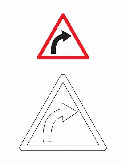 Coloring Sign Right Traffic Curve Signs Hand