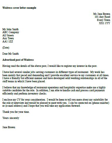 Cover Letter Exles Waitress by Waitress Cover Letter Exle Icover Org Uk