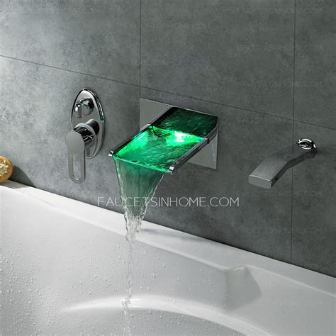 Wall Mounted Led Waterfall Faucet by Modern Waterfall Wall Mounted Led Bathroom Shower Faucet