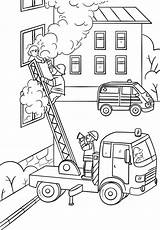 Fire Truck Coloring Fireman Ladder Fighter Climbing Firefighter Drawing Printable Saving Child Colouring Sheets Firetruck sketch template