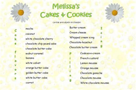 melissas cakes cookies menu  prices