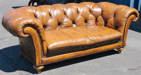 Baker Leather Sofa by Baker Leather Tufted Sofa For Sale At 1stdibs