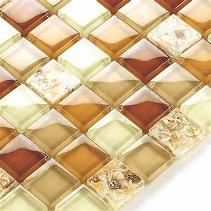 Glass conch tile sheets kitchen backsplash cheap brown for Cheap wall tiles for bathroom