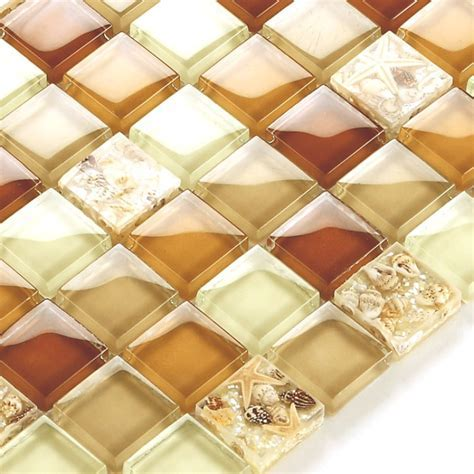 Glass Conch Tile Sheets Kitchen Backsplash Cheap Brown