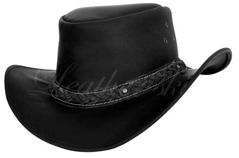 Men Handmade Black Hat Aussie Bush Cowboy Western Outback