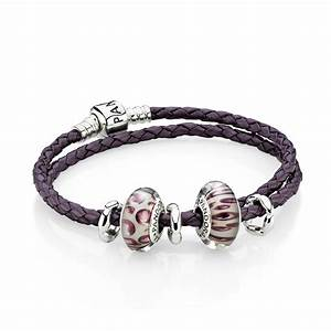 moments double woven leather bracelet purple pandora With pandora letter bracelet