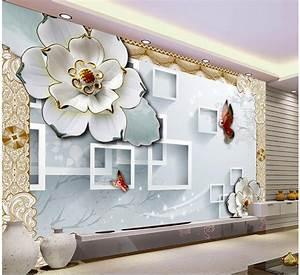 3D block TV backdrop embossed flowers papel parede mural ...