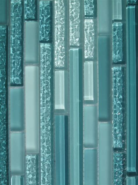 aqua horizontal mosaic glass tile kitchen backsplash