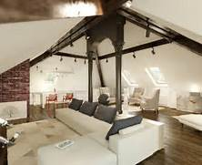 Medium Attic Living Room Design The Art Of Sloped Ceiling Spaces