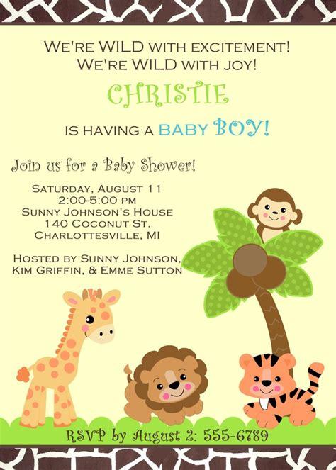 jungle safari zoo animals baby shower invitation  girl
