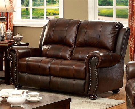 traditional leather loveseat carlton traditional brown loveseat in top grain leather