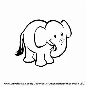 Baby Elephant Clipart Black And White - ClipartXtras
