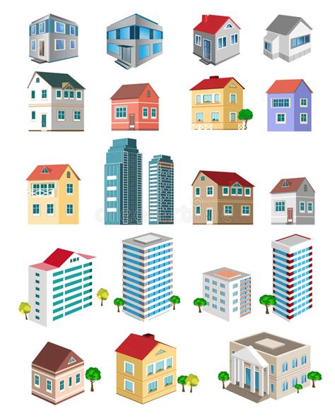 Set Of 3d Detailed Buildings With Different Types Of