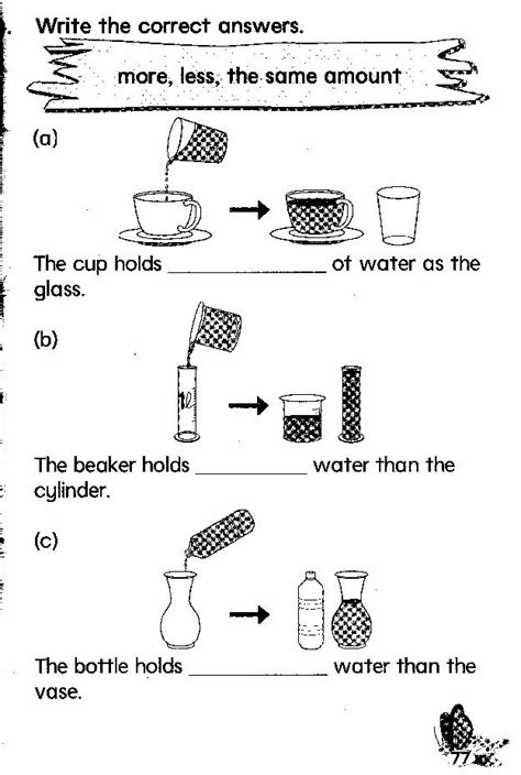 liquid measurement worksheets for 2nd grade 9 best images of liquid measuring cup worksheet
