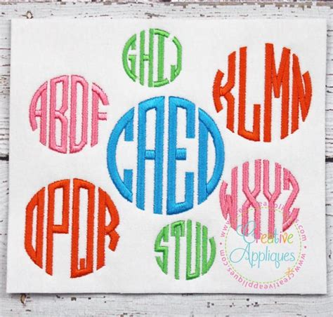 letter circle monogram embroidery font sofontsy