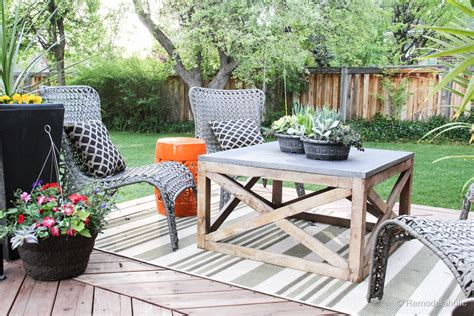 Presented by erin spain of erin spain blog. Remodelaholic   Build a Square Outdoor DIY Coffee Table with Wood X Base
