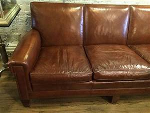 1940s Stately Leather Club Sofa By The Sikes Furniture Co