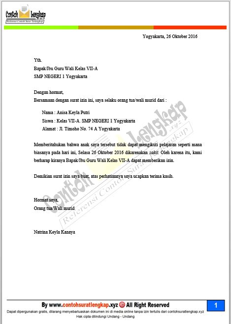 Surat Izin Sakit Sekolah Buatan Orang Tua by Contoh Surat Izin Sakit Tidak Masuk Sekolah Kuliah Kerja