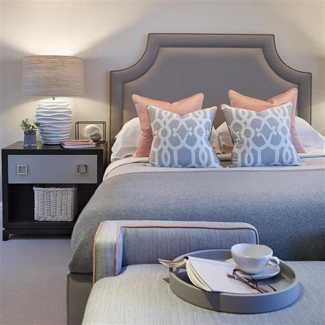 gray and pink bedroom ideas gray and pink bedroom with two tone nightstand 18815 | pink and gray bedroom two tone nightstand herringbone bench