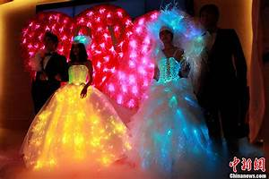 fiber optic wedding dress show shinning in suzhou people With fiber optic wedding dress