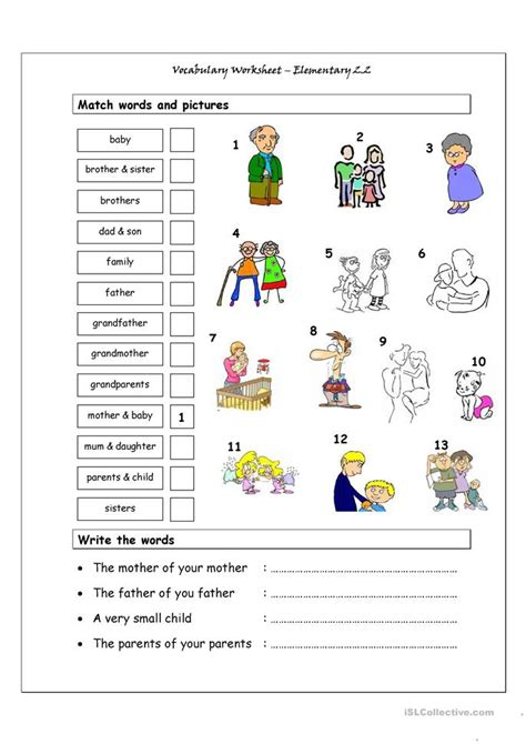 vocabulary matching worksheet elementary  family