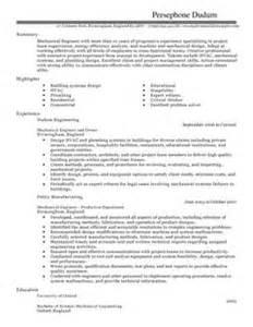 Civil Engineer Resume Template Mechanical Engineer Cv Exle For Engineering Livecareer
