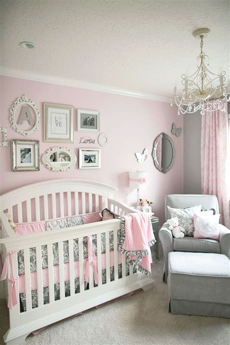 soft  elegant gray  pink nursery baby room girl