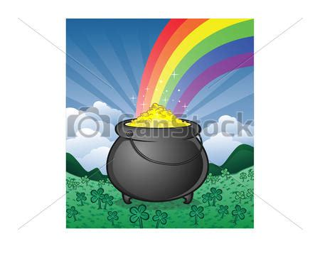 vector clip of pot of gold and shamrocks a pot of gold on csp15197116