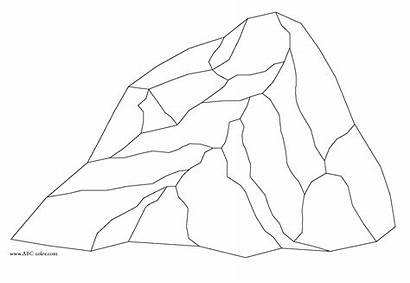Coloring Rock Pages Rocks Stone Clipart Drawing