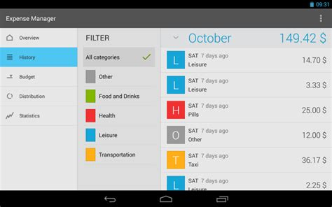 list    monthly expenses manager apps  android