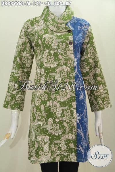 dress batik kerah miring kombinasi dua warna busana batik