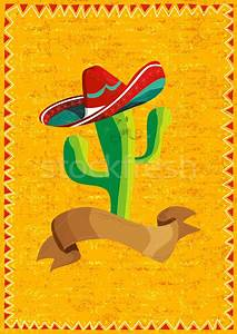 Mexican food cactus over grunge background vector ...