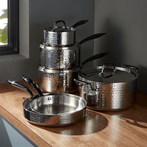 fleischer  wolf seville hammered stainless steel  piece cookware set crate  barrel