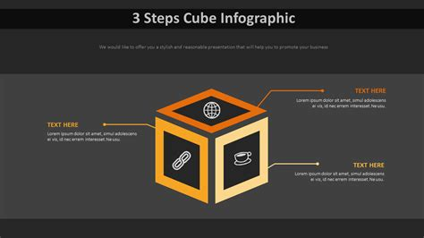3 Steps Cube Infographic Diagram