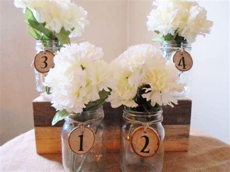 Barn Wedding Centerpieces : Mason Jar Centerpiece, Table Decoration, Wedding Numbers