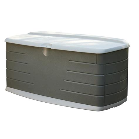 rubbermaid deck box home depot shop rubbermaid 26 in l x 56 in w 90 gallon olive