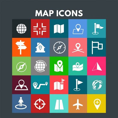Ready to be used in web design, mobile apps and presentations. Map icons Vector | Free Download