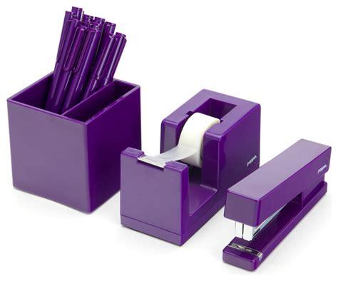 purple starter set modern desk accessories  poppin