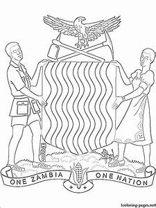 Zambian Coat Of Arms Coloring Page Coloring Pages