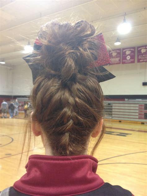 upside down french braid bun hair hair cheer hair
