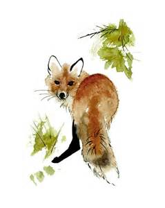 Red Fox Watercolor Painting
