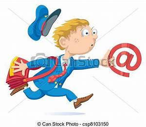 Vector Clipart of Email - Running postman with mail bag ...