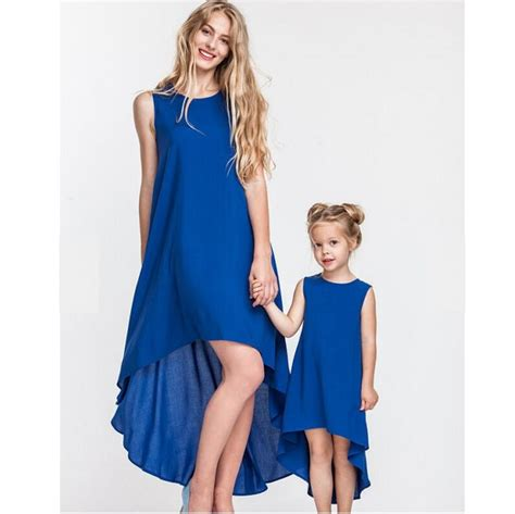 2017 Family Set Blue Irregular Sleeveless Mother Daughter Dress Mom and Daughter Dresses Clothes ...