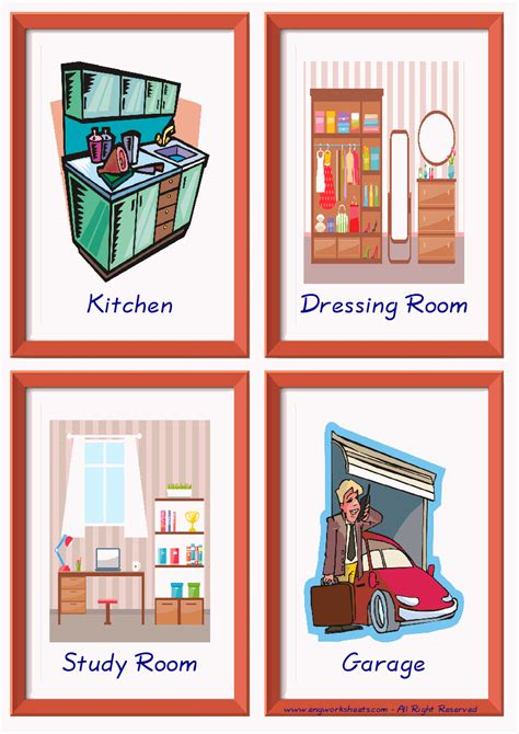 rooms   house esl printable english flash cards