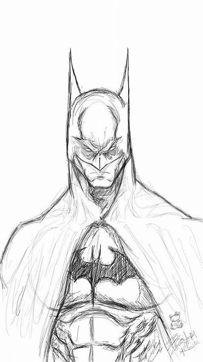 Batman Coloring Knight Dark Drawing Sketch Drawings