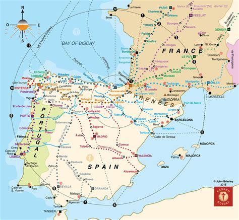 camino santiago map santiago de compostela map detailed travelsfinders