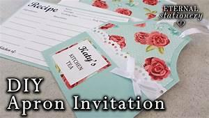 Easy diy apron invitation kitchen tea bridal shower for Easy diy wedding invitations instructions