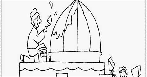 mewarnai gambar orang membangun masjid