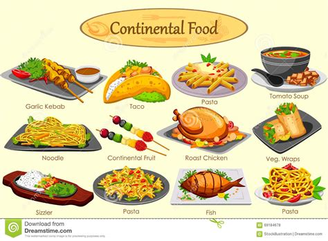 cuisine australienne collection of delicious continental food stock vector