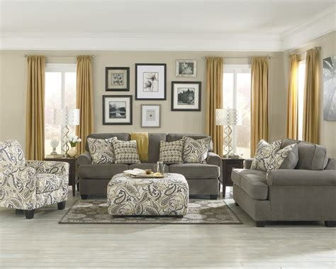 Beautiful Living Room Design With Grey Comfy Sofa Combine